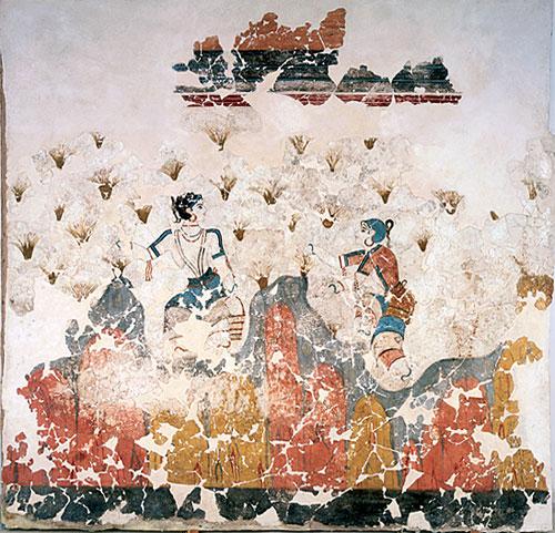 La Storia dello Zafferano, Raccoglitori di zafferano, Affresco, Grecia